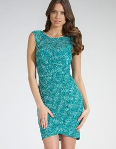 Lipsy Sequin Lace Asymmetric Hem Dress