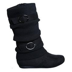 Slouchy Sweater Buckle Mid Calf Boot 85 black21 Apparel -- Click image for more details. (This is an affiliate link)