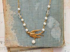 Golden Bird NECKLACE Pearls Crystal Vintage Romance