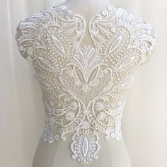 Heavy Beaded Lace Applique Wedding Dress Applique Embroidery Floral Bridal lace Patches Sewing Accessories Lace Applique By The Piece Embroidered Lace, Beaded Lace, Floral Embroidery, Applique Wedding Dress, Applique Dress, Wedding Motifs, Bridal Lace, Wedding Lace, Bridal Gown