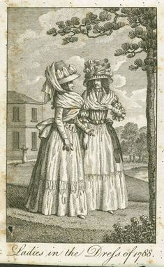 Fashion plate, 'Ladies in the Dress of - MAAS Collection 18th Century Clothing, 18th Century Fashion, Empire Style, Haute Couture Fashion, Science Art, Fashion Plates, Costume, Fashion Art, Cool Style