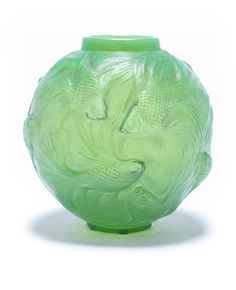René Lalique 'Formose' a Vase, design 1924 green and opalescent glass, frosted and heightened with staining 17cm high