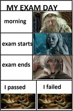 "very accurate, except perhaps the ""I passed/failed"" blocks ha"
