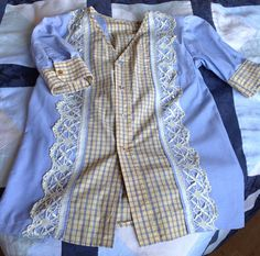 Blouse made of two male shirts and a lace from an old tablecloth.