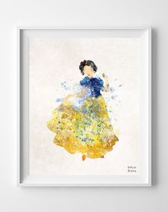 Snow White art Disney Watercolor Painting Print  by InkistPrints, $11.95 - Shipping Worldwide! [Click Photo for Details]