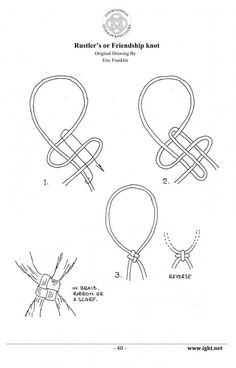 Knotting Photos, Pictures of Knots, Decorative Knot PicturesRustlers or Friendship Knot.How to Make Boat Knotsto wear in neck tie formfor all those Scouting kercheifs Lanyard Knot, Paracord Bracelets, Rope Knots, Macrame Knots, Friendship Knot, Friendship Bracelets, Types Of Knots, Knots Guide, Make A Boat