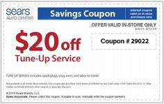Sears Tune-Up Service Coupon for August 2013