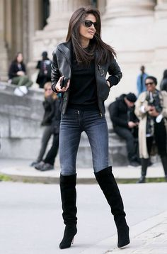 Casual but chic in jeans, boots and a leather jacket