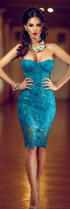 Turquoise lace dress, yes, I know, same woman I just pinned in the black lace dress, but she is so, so, soooo, beautiful.