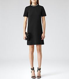 Womens Black Embellished Detail Dress - Reiss Indra