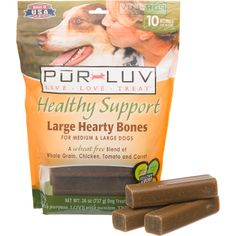Pur Luv Healthy Support Large Hearty Bones Dog Treats for Medium & Large Dogs