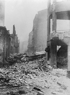 Utter destruction of the Basque 'Holy City' of Guernica by Rebel bombers is shockingly brought home in this picture of one of the streets The Basques. Guernica, Autumn Scenery, The Spectator, Post Apocalyptic, Destruction, Holi, Rebel, Script, Mount Rushmore