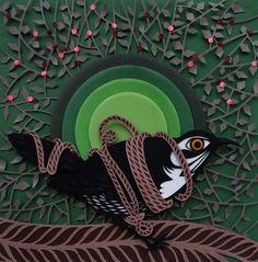 drossel paperart papercut paperorks 2015 green and black