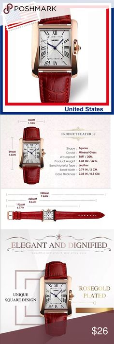 """✨NEW✨Women's SKMEI Red Leather Quartz Watch Highlights:  • Dial Has Rhinestones & 3D Roman Numerals  • Imported Japanese CITIZEN Quartz Movement with precise & accurate time keeping   Features   • 98FT / 30M Waterproof  • Case: Stainless Steel • Band: Leather • Mirror Surface: Mineral Glass (Scratch Resistant)  • Dial Case Diameter: 1.18"""" • Dial Case Thickness: 0.35"""" • Band Color: Red • Band Width: 0.79"""" • Band Length: 9.45"""" • Max Fit Wrist: 8.66"""" • Min Fit Wrist: 6.77"""" • Band Clasp: Double…"""