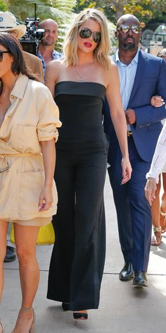 Khloé Kardashian Displays Her Svelte Figure in a Strapless Jumpsuit | from InStyle.com