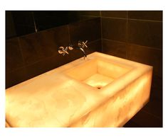 Guest Bathroom - Custom Fabricated Onyx Vanity Top in White Cloud Premium Polished with Integral Sink and Mitered Apron. Slate Tile Walls in Museo Black x Honed Finish. Bathroom Wall, Bathroom Interior, Stone Sink, Bath Vanities, Guest Bath, Vanity Lighting, Powder Room, Townhouse, Interior Design