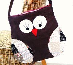"""Tasche  Handtasche  Shopper  Umhängetasche      """"Eule""""      super schöne Eulentasche in braun mit Patchworkstoff kombiniert ♥ tolles Design ♥    für k"""
