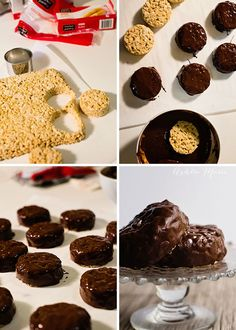 Make your own edible hockey pucks with rice krispies and chocolate