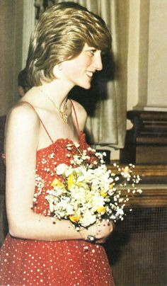 """December 8, 1982: Princess Diana at the performance of the """"Konservatoriet Ballet"""" at the Royal Opera House, Covent Garden."""