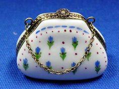 BLUE BONNET PURSE - Porcelain Limoges from France - Limoges Factory Co.