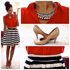 red sleeveless blouse / striped skirt / nude pumps
