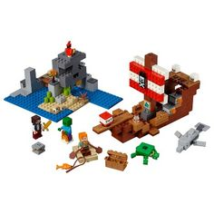 Build a pirate ship toy with working flick-missile cannons, gold detailing, pirate banner, gangplank and rowboat, plus a host of Minecraft mobs—all in a LEGO Minecraft skull island setting! Lego Minecraft, Minecraft Skull, Fun Minecraft Games, Minecraft Crafts, Minecraft Buildings, Bateau Pirate Lego, Lego Pirate Ship, Lego Duplo, Dolphins