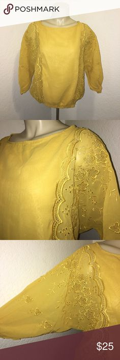 Angie Yellow Embroidered Eyelet Blouse Top Stunning blouse by the brand: Angie in excellent condition. Brand new with tags. Super chic and stylish! Perfect for all occasions! Size small. Angie Tops Blouses