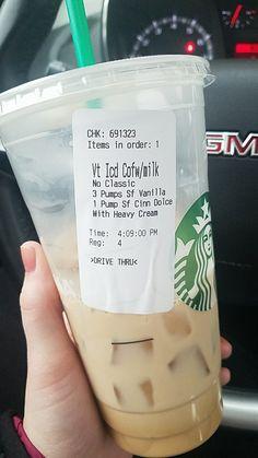 Keto friendly Starbucks - ORDER: venti iced coffee, 3 pumps sf vanilla, 1 pump sf cinnamon dolce + heavy whipping cream. >1g carbs, 11g fat, .6g protein.