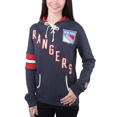 b183d4462 Women s New York Rangers Old Time Hockey Navy Blue Nadia Lace-Up Pullover  Hoodie