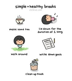 "chibird: ""A cute little break sheet for you all~ Doing these breaks have helped me a lot more than getting stuck on my phone for minutes. Happy Thoughts, Positive Thoughts, Positive Vibes, Positive Quotes, Note To Self, Self Love, Chibird, Self Care Activities, Self Reminder"