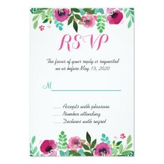 Find customizable Rsvp invitations & announcements of all sizes. Pick your favorite invitation design from our amazing selection. Pink Wedding Invitations, Wedding Rsvp, Wedding Invitation Design, Watercolor Poppies, Bridal Shower Cards, Watercolor Wedding Invitations, Teal, Ideas Para, Templates