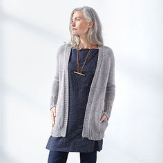 "All three versions of Emma are quick-knits with a gauge of 3 stitches to 1"" / 2.5 cm. Knitting Emma is a great way for newcomers to the Cocoknits Method to try it out. All of the versions have waist shaping for a flattering fit. For Version B, I offer a short- or long-sleeve option."