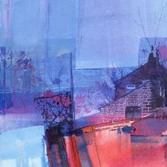 Icy Wind Colden. Original mixed media painting by Kate Boyce - acrylic painting embellished with collaged transfer fragments created using own photography.