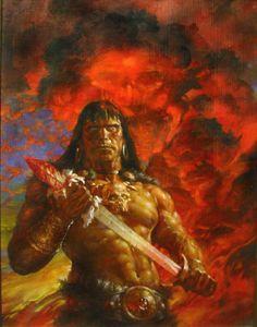 Doug Beekman, Conan the Barbarian. I think Robert E. Howard would approve of Beekman's Conan, rugged and no one's idea of a pretty boy! Fantasy Sword, Fantasy Warrior, Dark Fantasy, Conan Comics, Marvel Comics, Frank Frazetta, Fantasy Films, Fantasy Characters, Paladin