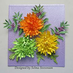 I really love creating Susan's Garden Club Spider Mum. Today I wanted to show three additional colors. Along with the mums, I added Su. Card Making Tutorials, Card Making Techniques, Flower Cards, Paper Flowers, Spider Mums, Paper Quilt, Elizabeth Craft Designs, Garden Club, Create And Craft
