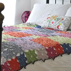 Bessie May Star Crochet Throw - Star Afghan Blanket, in Bright Soft Colours - Brighten Up Any Morning. £450.00, via Etsy.
