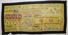 VINTAGE INDIAN TABLE RUNNER TAPESTRY WALL HANGING TABLE COVER EMBROIDERY TP29 #Handmade #VintageRetro