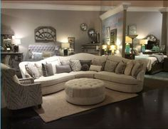 conversational sectional with accent chair and ottoman from A. Iron Furniture, Online Furniture, Furniture Ideas, Furniture Mall Of Kansas, Chair And Ottoman, Mattress, Accent Chairs, Couch, Bed