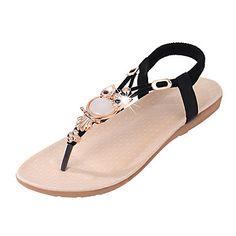 Mujer Zapatos PU Verano Confort Sandalias Tacón Plano Negro / Fucsia / Azul 4P7lP