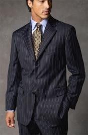 Get Discounts on SKU# QW56 Joun Poul UMO Navy Blue Pinstripe Super 140's Wool $175 on MensITALY.com