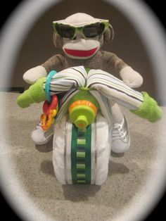 Motorcycle Diaper Cake baby boy shower gift green by thisNthat1109, $49.50