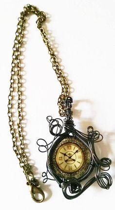 Clock Face necklace steampunk necklace by AlternativeFinch on Etsy