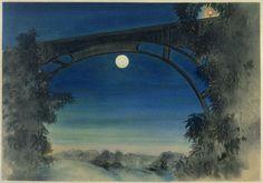 """"""" Chiura OBATA(小圃 千浦 Japanese/American, 1885-1975) Full Moon, Pasadena, California 1930 Color Woodcut via """""""