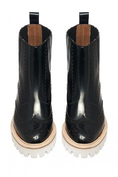 Jeffrey Campbell Shoes GENESIS Boots in Black Polish White
