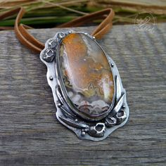 Crazy Lace Agate Pendant Sterling Silver Boho by RadeckaArt