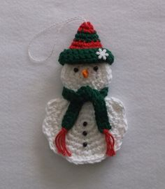 Crochet Snowman Ornament and Gift Card Holder with Red and Green Hat, Snowman, Snowman Ornament, Chr Crochet Christmas Decorations, Quilted Christmas Ornaments, Crochet Christmas Ornaments, Holiday Crochet, Snowman Ornaments, Crochet Stocking, Crochet Snowman, Crochet Gifts, Christmas Projects