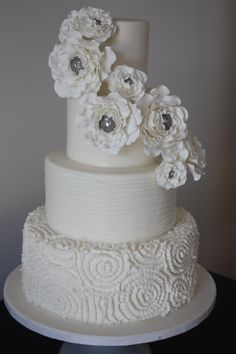 Dress Inspired Wedding Cake With Brooch Centered Roses This Was Designed For Our Couple