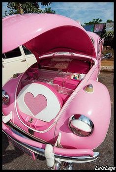 oh my WORD! Such vehicles exist in real life? #pink #Beetle but look what is under da hood: