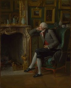 """""""The Baron de Besenval in his Salon de Compagnie"""", 1791, by Henri-Pierre Danloux (French, 1753-1809). Baron de Besenval was commander-in-chief of France's Swiss Guards at the outset of the French Revolution (during which he was briefly imprisoned). Also a well-known art collector, this portrait shows Besanval, having retired from military service, surrounded by his paintings and a selection of Rococo objects (by then rather unfashionable)."""