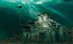 Atlantis: How the Lion City was purposely-flooded to make way for a power station but remains completely intact underwater after 50 years sunken city in Shicheng in china:)! From 15 of the World's Most Strange Abandoned Places Places Around The World, The Places Youll Go, Places To See, Around The Worlds, Scary Places, Strange Places, Haunted Places, Hidden Places, Abandoned Buildings